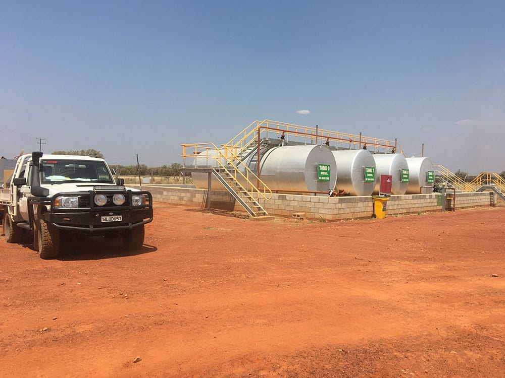 A ute parked in frot of industrial building in the Northern Territory