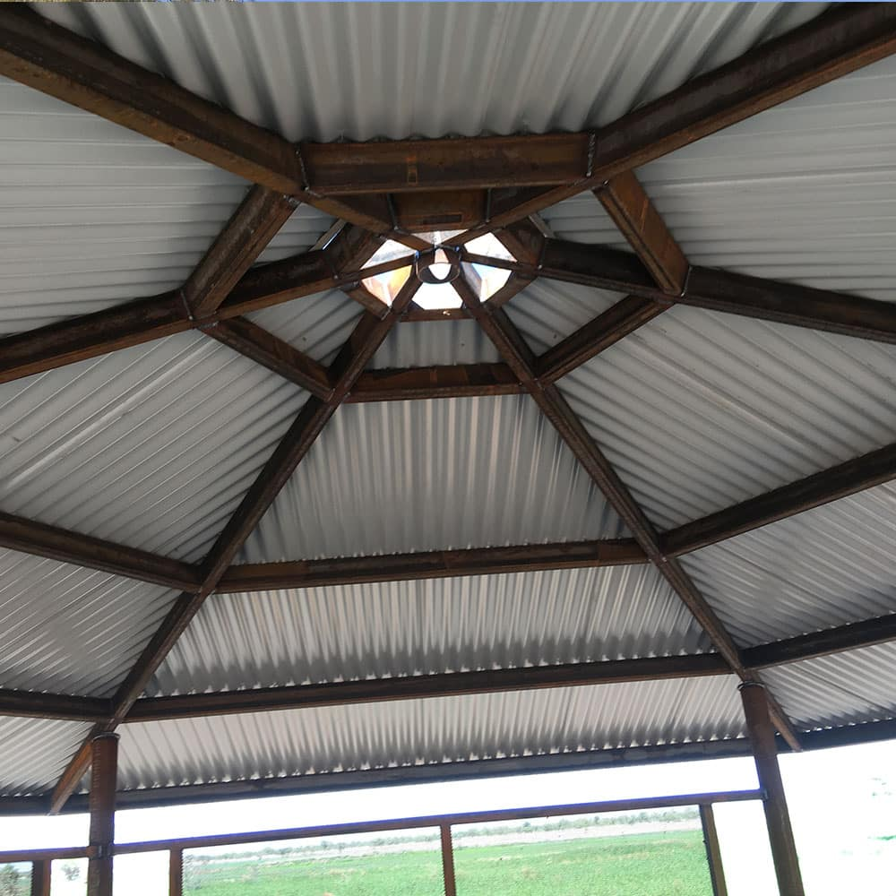 Underneath a custom fabricated pergola in the Northern Territory